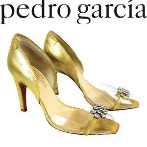 PEDRO GARCIA jeweled peep toe D'Orsay heels shoes